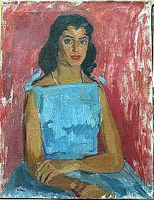 "SAUL HANIG, ""Young woman in a blue dress"""