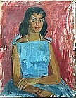 """SAUL HANIG, """"Young woman in a blue dress"""""""