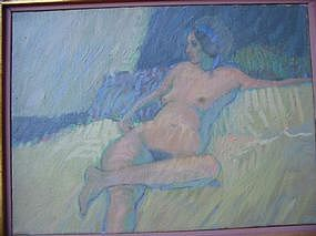"JACK SCHNITZIUS, ""NUDE WITH BLUE RIBBON"" 1968"