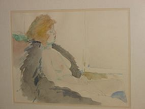 "Jack Schnitzius, ""Girl with Fur Coat"", watercolor, 1977"