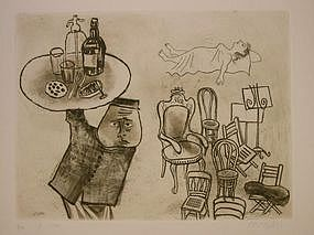 "William Gropper, ""Dream"", original etching"