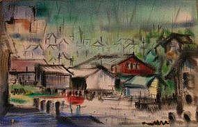 JACK SCHNITZIUS, WHARF SCENE, 1960