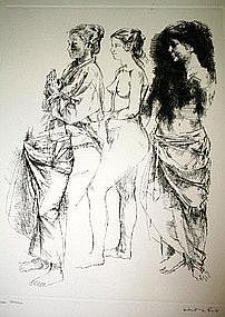 "HERBERT LEWIS FINK, ""THREE WOMEN"", ETCHING, CIRCA 1965"
