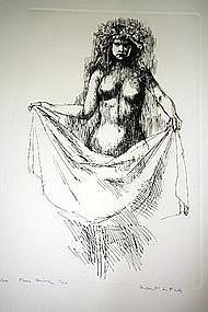 "HERBERT LEWIS FINK, ""FLOREA #2"", ORIGINAL ETCHING, 1965"