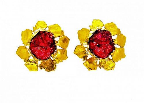 YSL Gripoix Ruby Poured Glass Gilt Framed Earrings