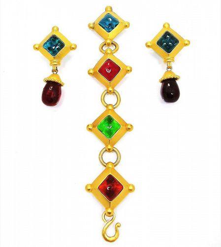 Karl Lagerfeld Matte Gold and Gripoix Poured Glass Bracelet & Earrings