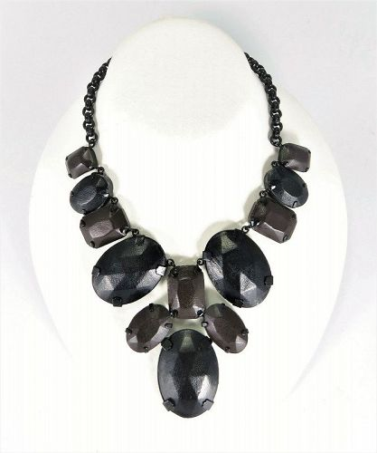 YSL Leather Wrapped Stone Necklace