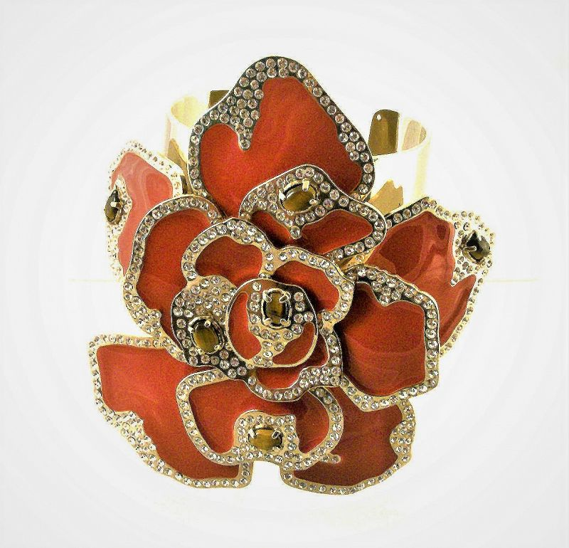 Massive Valentino Enamel Flower Cuff Bracelet