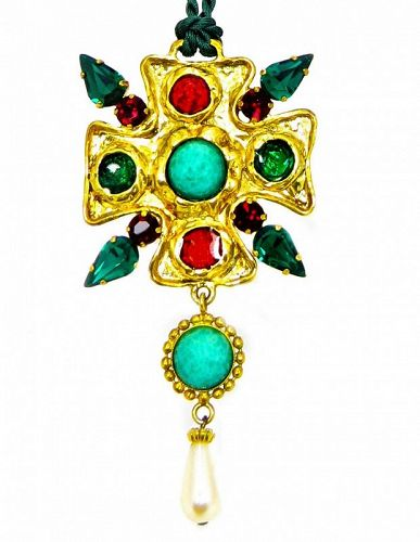 Dolce and  Gabbana Poured Glass & Cabochon Pendant