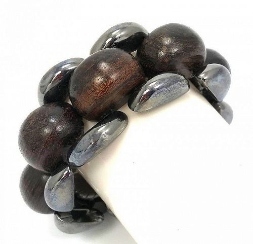 Yves Saint Laurent Gunmetal and Wood Bracelet