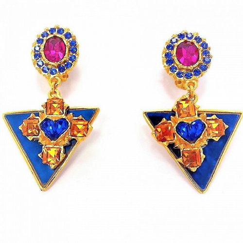 Christian Lacroix Enamel and  Color Stone Drop Earrings