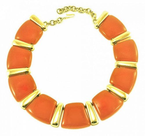Valentino  Burnt Orange Lucite and  Gilt Metal Necklace