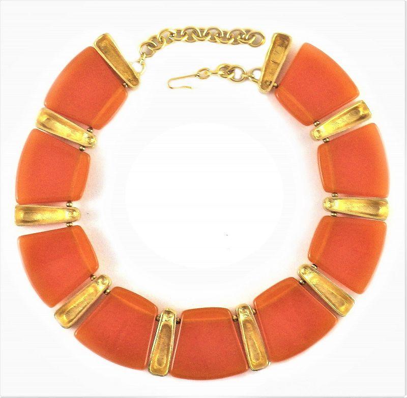 Valentino  Burnt Orange Lucite and  Gilt Metal Necklace