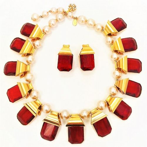 William DeLillo Gold Pearl and Large Ruby Stone Necklace and Earrings