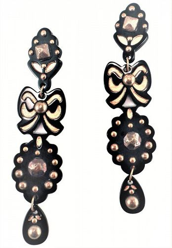 YSL Black Galalith and Brass Shoulder Duster Earrings