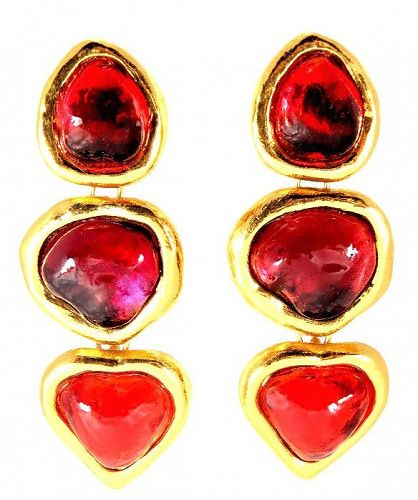 YSL Gripoix Poured Glass Drop Heart  Earrings