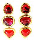 YSL Gripoix Poured Glass Drop Heart  Earrings