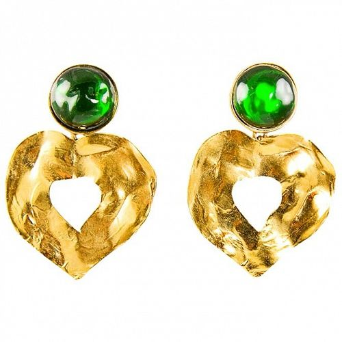 YSL  Emerald and Gold Drop Heart Earrings