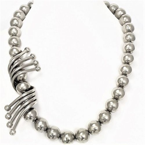 Massive Ugo Correani Chrome Bead Necklace