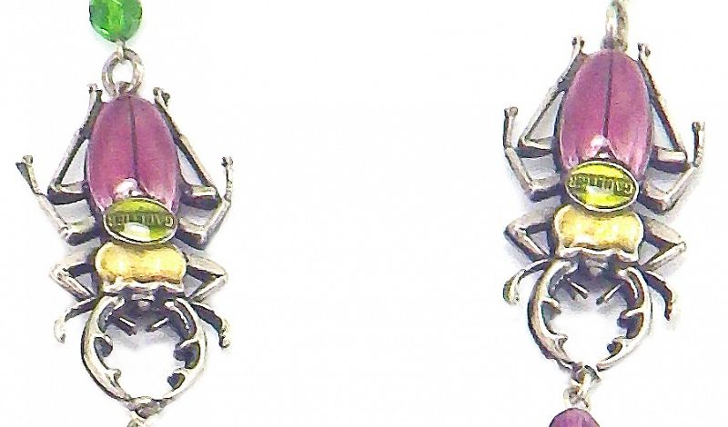 Gaultier Enamel and Crystal Necklace with Scarabs