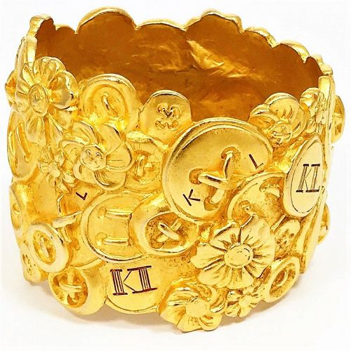 Karl Lagerfeld Wide Matte Gold Cuff