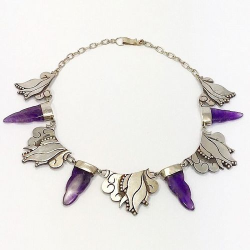 Carmen Beckmann Amethyst and Sterling Necklace