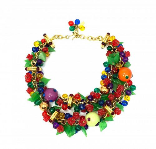 Versace Bead, Flower and  Leaf  Necklace