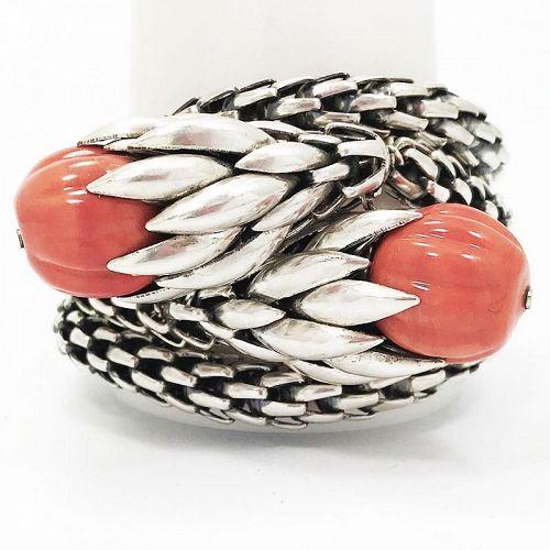 Napier Silver and Coral Bracelet - Rare