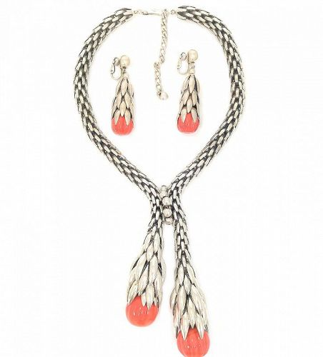Napier Silver and Coral Necklace and Earrings