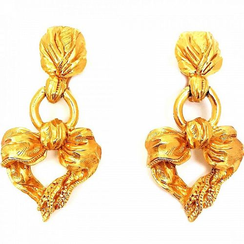 Christian Lacroix Ribbon and Heart Motif  Drop Earrings