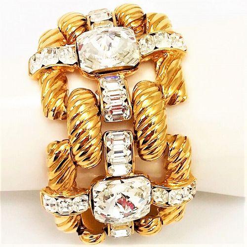 Massive Valentino  Gold and Rhinestone Bracelet