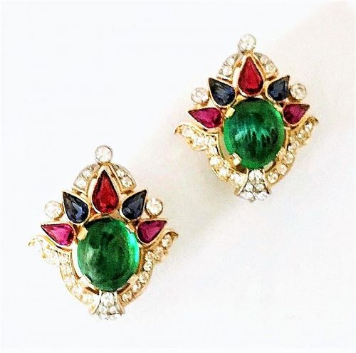 "Trifari  Vintage ""Jewels of India"" Earrings"