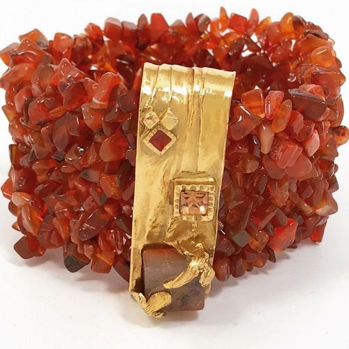 Yves Saint Laurent Polished Carnelian Stone Bracelet