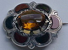 Scottish Antique Pin Citrine Agate Sterling Silver