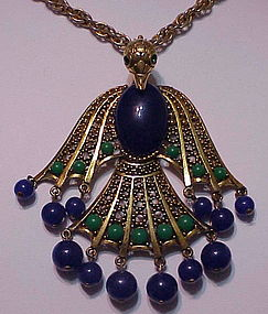 """The Phoenix arises"" Egyptian revival peacock necklace"