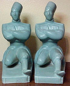 "Abingdon ""Russian"" bookends -matt green-pair (2) 8 1/2"""