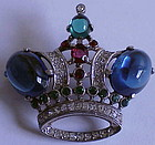Trifari 'Alfred Philippe' sterling sapphire crown pin