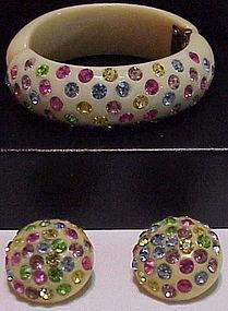 Bakelite Rhinestone bracelet & earrings- Vintage