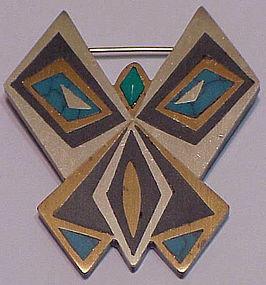 Tono Piedra Negra Turquoise mixed metal Butterfly pin
