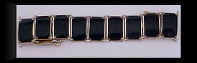 David Andersen sterling black enamel panel bracelet