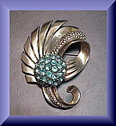 Pennino sterling vermeil feathered top floral brooch