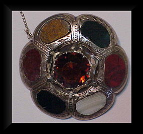 Scottish sterling circular antique agate brooch ca 1890