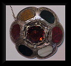Scottish sterling circular antique agate brooch ca 1890