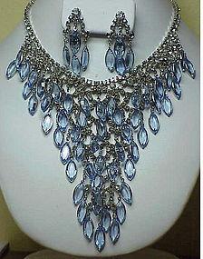 "Juliana ""V""- shaped bib necklace & earrings-light blue"