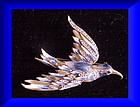 CoroCraft sterling blue hookbilled bird of Paradise pin