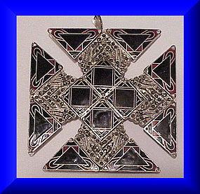 Sandor Silver Marcasite fired enamel Maltese Cross pin/