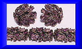 Hollycraft 1952 Light and dark amethyst bracelet , ears