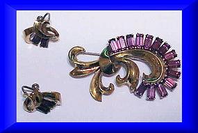 Boucher Sterling vermeil amethyst brooch & earrings