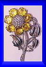 Reja sterling citrine colored floral brooch