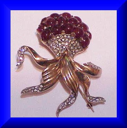 Reja sterling vermeil rose opal brooch-1946